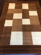NEW MODERN BLOCK DESIGN RUGS BROWN CREAM 150X210CM 7X5FT APPROX QUALITY MATS